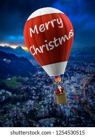 funny modern santa on vintage hot air balloon