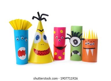 Funny monsters on white background. Halloween decoration