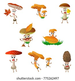 Funny mushroom porcini character, mascot, cartoon illustration on white background. Humanized, childish mushroom with smiling faces, arms and legs. Autumn, fallen leaves, dry grass.