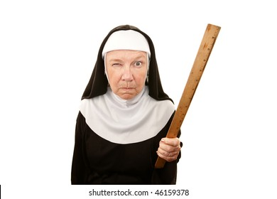 Funny nun carrying wooden ruler as a weapon