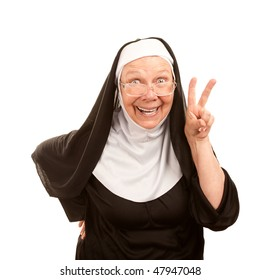 Funny nun on white background making peace sign
