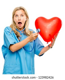 Funny nurse woman listening heart isolated on white background