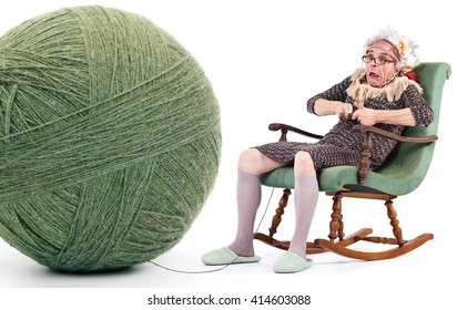 Old Lady Knitting Images Stock Photos Vectors Shutterstock