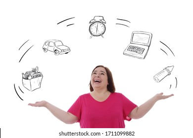funny overweight caucasian brunette woman overwhelmed and juggling with a multitude of everyday activities drawn on white isolated studio background