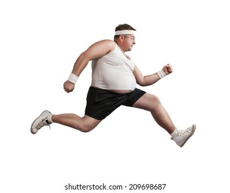 Funny overweight man speeding isolated on white background