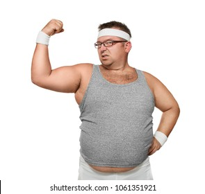 Funny overweight nerd showing off his muscle isolated on white background