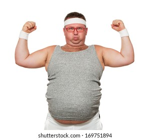 Funny overweight sports man flexing his muscle isolated on white background