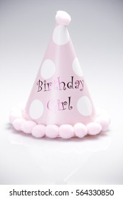 Funny Party Hat on White Background in pink color with the words of Birthday Girl