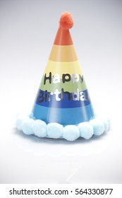 Funny Party Hat on White Background in colorful design with the words of Happy Birthday
