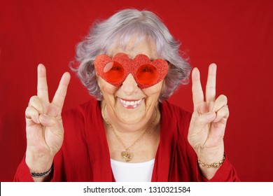 Funny peace and love grandma with red heart glasses