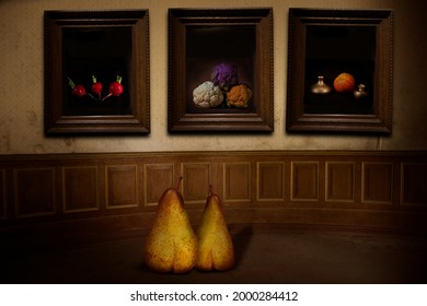 funny pears as visitors in a gallery surreal art close up