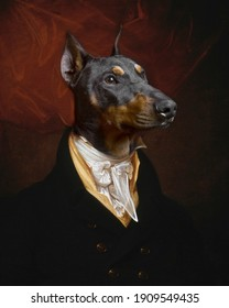 Funny photo of dog dressed in Victorian clothes as fine art painting