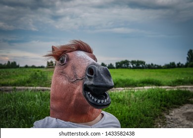 Funny photo of man with a horse mask