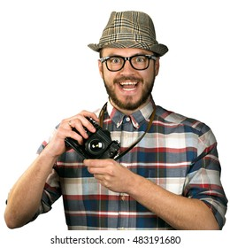 funny photographer with retro camera isolated on white