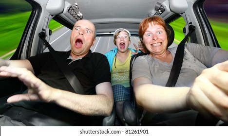 Funny picture of crazy family riding on a holiday.