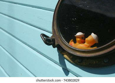 Funny picture of two yellow ducks in porthole over blue wood