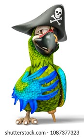 funny pirate parrot cartoon 3d illustration
