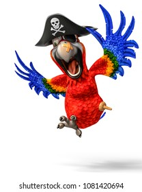 funny pirate red parrot cartoon 3d illustration