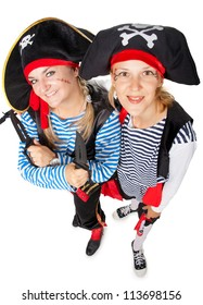 Funny pirates are making fun on white background