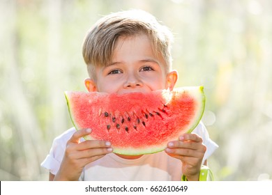 Funny playful boy eating watermelon, outdoors portrait on a sunny summer day