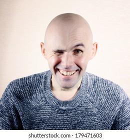 Funny portrait of a bald