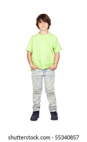Funny portrait of freckled boy isolated on white background