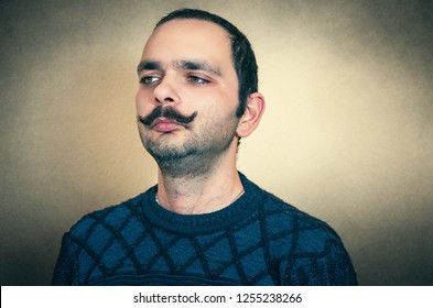 Funny portrait of the man with mustache