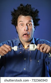 Funny Portraits of a guy who has been electrified: hair standing up with different facial expression on blue background: electrical spark and plug