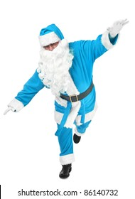 funny pose of blue santa claus on white background