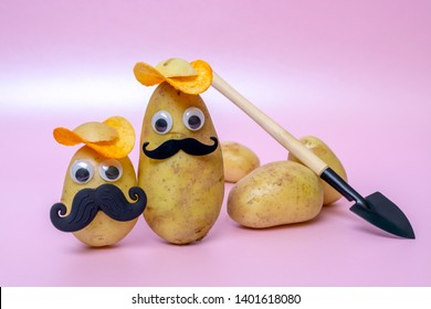 funny potato head with face on pink background