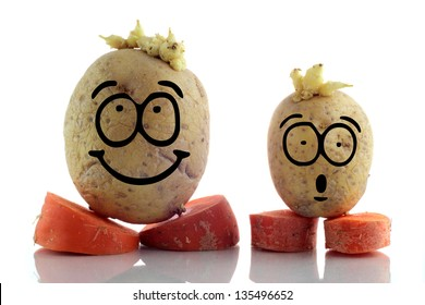 Funny potatoes. Emoticons on white background.