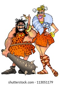 funny prehistoric man and woman
