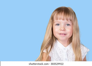 Funny pretty little blonde girl