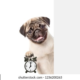 Funny puppy behind white banner showing alarm clock. isolated on white background