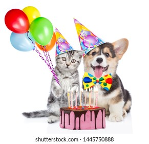 Funny puppy and kitten in party hats holds balloons with birthday cake with many burning candles. isolated on white background