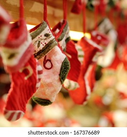 Funny red and white Christmas socks decoration