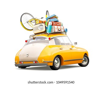 Funny retro car with laggage, suitcases and bicycle. Unusual summer travel 3d illustration. Summer vacation concept isolated on white