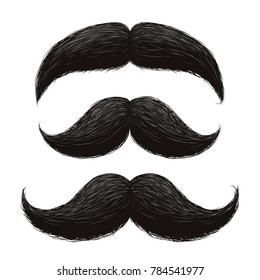 Funny retro hair mustaches set. Mustache vintage facial, funny curly black mustache illustration