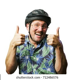 funny retro man with mustache and glasses wearing a helmet thumbs up