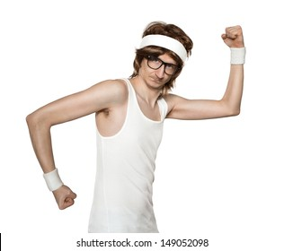 Funny retro nerd flexing muscle isolated on white background