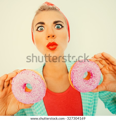 54b2e36a93c9 Funny Retro Style Pinup Girl Donuts Stock Photo (Edit Now) 327304169 ...