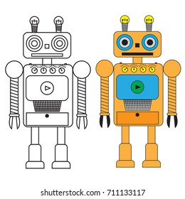 Funny robot in flat style isolated on white background