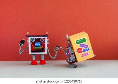 Funny robot moving shopping cart big yellow box with discount advertising stickers. Special sale promotion poster. Red gray background, copy space.