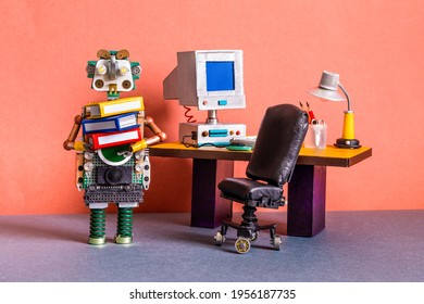A funny robot office manager holds a bunch of folders with documents. Retro office with a computer and a desk lamp on an old table. The concept of workflow business automation.