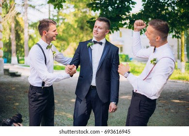 funny at the same time serious groom with best mans