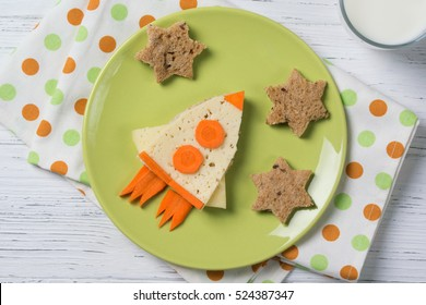 Funny sandwich with rocket and stars, meal for kids idea