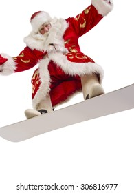 Funny Santa is flying on his new snowboard
