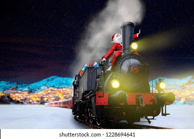 funny Santa on vintage Christmas delivery train
