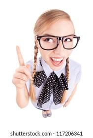 Funny school girl pointing up, fish eye lens portrait