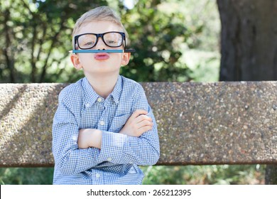 funny schoolboy in glasses being silly ready to go to school, back to school concept